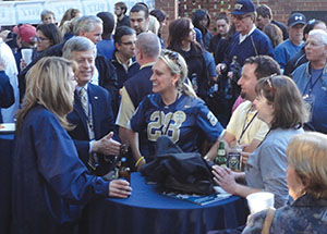 Chancellor Nordenberg greets Panthers fans and Pitt loyalists at the Pitt vs. Georgia Tech pregame event on Nov. 2 in Atlanta.