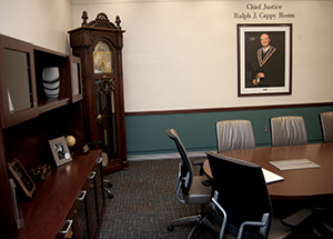 The newly dedicated Chief Justice Ralph J. Cappy Room in the Barco Law Building.