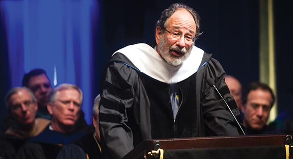 Keynote speaker Alvin E. Roth addresses the audience at Pitt's Honors Convocation.
