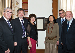 From left, Czech Senators Jiri Bis and Vaclav Homolka; Maryann Sivak, assistant to E. Maxine Bruhns, director of Pitt's Nationality Rooms and Intercultural Exchange Programs; Bruhns; Martin Dvorak, Czech Consul General, New York City; and Czech Senator Tomas Grulich.