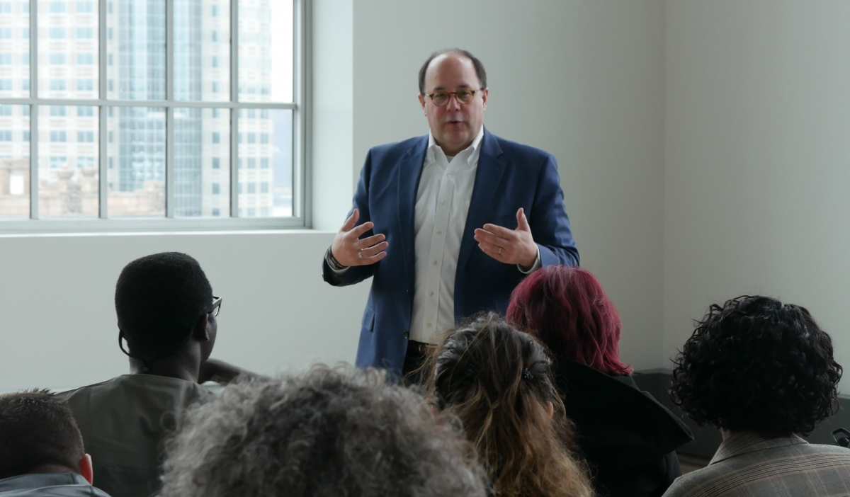 Rich DiClaudio, president and CEO of the Energy Innovation Center (EIC),  talks to the group about sustainability. The EIC building, formerly the  Connelley ...