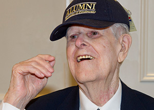 John Downs models his new Pitt Alumni Association hat.