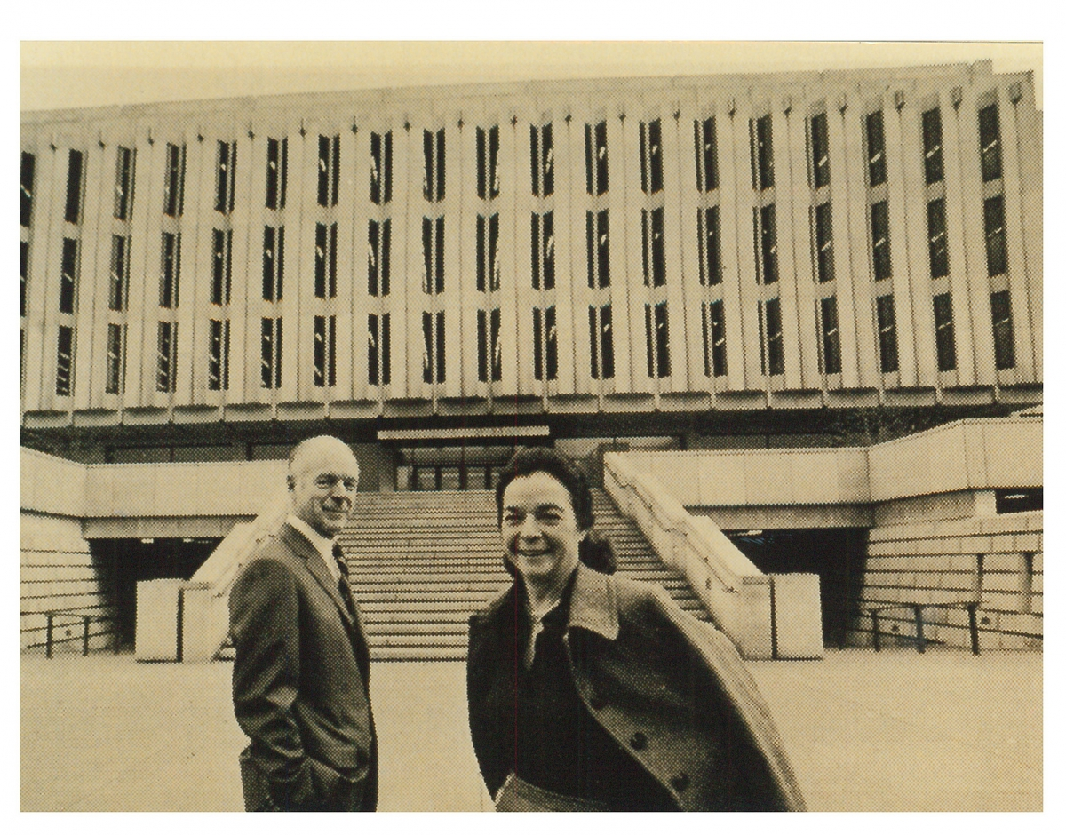 Henry and Elsie in front of the Hillman Library, circa 1968