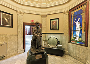 In the lobby, visitors can view a statue of John Brashear, the original lens of the Thaw Refractor, and a stained-glass window of Urania, the Greek goddess of astronomy.