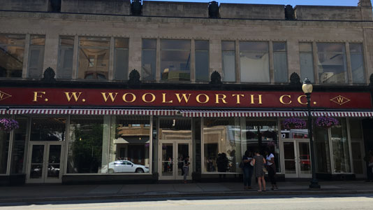 The building that housed the Woolworth lunch counter, where the Greensboro Four sat in civil protest.