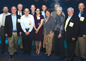 A large group of Pitt Band alumni members and friends joined fellow alumni Jack Anderson (second from right) and his wife, Peg, at the Atlanta reception. Anderson, who retired earlier this year, was the longtime Director of Bands at the University of Pittsburgh.