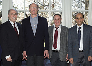 From left, Patricia E. Beeson, Provost and Senior Vice Chancellor; award recipients Dennis Galletta, George Reid Andrews, Richard Donato,  Abdus S. Wahed; and Vice Provost for Graduate Studies Alberta M. Sbragia