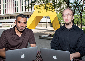 Liaison librarians Arif Jamal (left) and Carlos Pena provide reference and research support anywhere on campus by personal appointment, email, or chat to Pitt students, faculty, and staff.