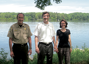 From left, Daniel K. Bickel, Pymatuning Park operations manager, and Pitt professors Gordon Mitchell and Kathleen McTigue