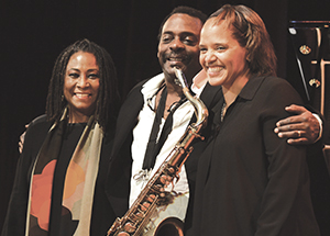 Geri Allen (left) at the Panama Jazz Festival with David Murray and Terri Lyne Carrington (Photo by Nate Guidry)