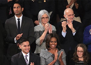 Pranav Shetty, on left in top row, with Michelle Obama