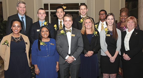 Pitt's new Student Government Board was recently inaugurated. The board's term of service will end with the completion of the spring 2016 semester. Pictured in top row, from left, are Chancellor Patrick Gallagher; Jack Heidecker; Jacky Chen; Matthew Sykes, vice president and chief of finance; Everett Green; and Senior Vice Chancellor for Engagement Kathy Humphrey. In bottom row, from left, are Lia Petrose; Nasreen Harun, executive vice president; Graeme Meyer, president; Meghan Murphy; Natalie Dall, vice president and chief of cabinet; and Provost and Senior Vice Chancellor Patricia E. Beeson.