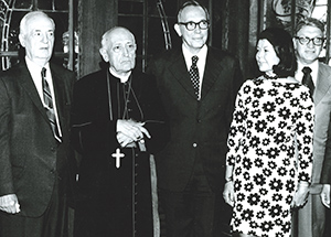 Albert Van Dusen met with Hungarian Cardinal József Mindszenty when the leader of the Hungarian Catholic Church visited Pitt's Hungarian Nationality Room in 1975. From left, Samuel C. Gomory, first Hungarian Room Committee chair; Cardinal Mindszenty; Dr. Van Dusen; E. Maxine Bruhns, director of Nationality Rooms and International Exchange Programs; and Gay Banes, a Hungarian Room vice chair