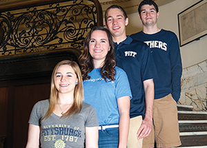 Pitt's Stamps Scholars: from left, Amanda Sauter, Elizabeth Bina, Max Kneis, and Zachary Fulker (Photo by Emily O'Donnell)