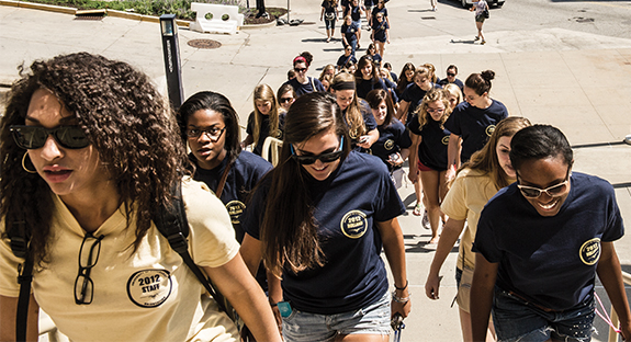 It was a hot, sunny day in August 2012 when members of Pitt's Class of 2016 hiked up Desoto Street to the Petersen Events Center for Freshman Convocation. Part of the annual New Student Orientation week, the freshmen were grouped by residence hall and wore T-shirts with the name of their new homes. Today, those same students don graduation robes in preparation for Commencement 2016 in the Pete. What a journey it has been!