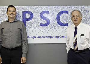 From left, Nick Nystrom, Pittsburgh Supercomputing Center's senior research director, and Ralph Roskies, PSC's scientific director and a Pitt physics professor (Photo by Emily O'Donnell)