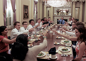 Student-body presidents from 11 ACC schools gathered at Pitt over Labor Day weekend to exchange leadership ideas and information. Above, the group shares lunch in the Cathedral of Learning's Croghan-Schenley Room on Sept. 2.