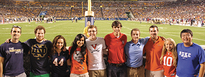 Student-body leaders from 11 ACC universities gathered at Heinz Field prior to the Sept. 2 Pitt-Florida State University game. From left, Gordon Louderback, Pitt; Alex Coccia, University of Notre Dame; Alexandra Curtis, Syracuse University; Bhumi Patel, University of Miami; Eric McDaniel, University of Virginia; Alex Parker, North Carolina State University; Jacob Morse, University of North Carolina; Brent Ashley, Virginia Tech; Kayley Seaweight, Clemson University; and Ray Li, Duke University. Not pictured is Rosie Contreras, Florida State University.