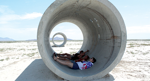 During a side trip to the Great Basin Desert outside Lucin, Utah, Pitt students observe—from the inside—artist Nancy Holt's Sun Tunnels.