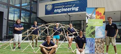 bamboo shelter designed by Pitt engineering students