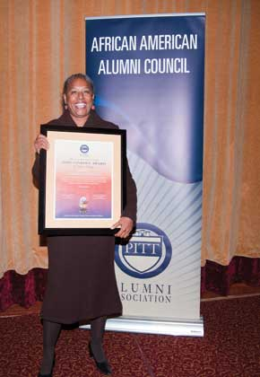 Gail Austin, former director of Pitt's Academic Resource Center who retired after 42 years of service in various University positions, received the special Sankofa Jean Hamilton Walls Award.