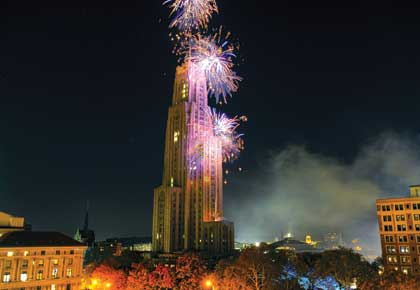 The University of Pittsburgh's Homecoming 2010 welcomed alumni, students, friends, and families to the Pittsburgh campus Oct. 28-31. Fireworks showed the Cathedral of Learning in its splendor.