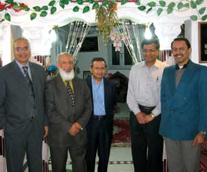 Vishwajit L. Nimgaonkar (second from right), a Pitt professor of psychiatry and human genetics, has been training researchers in India and Egypt in the genetic studies of psychiatric disorders. Nimgaonkar is pictured here in Mansoura, Egypt, with two other Pitt professors: Rohan Ganguli (center), a professor of psychiatry, pathology, and health and community systems in Pitt's School of Medicine, and Konasale M. Prasad (far right), an assistant professor of psychiatry. They were visiting two Egyptian psychiatrists (pictured on left) who are collaborating with Nimgaonkar on his research.