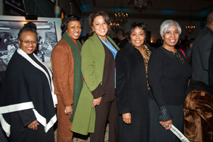 From left, Carol Mohamed, director of Pitt's Office of Affirmative Action, Diversity, and Inclusion; Winifred V. Torbert of the UPMC Center for Inclusion in Healthcare; Candi Castleberry-Singleton, UPMC's chief diversity officer; Yvonne Durham of the Greater  Pittsburgh YWCA; and Angela Ford, alumnus and executive director of Pitt's Center for Minority Health.