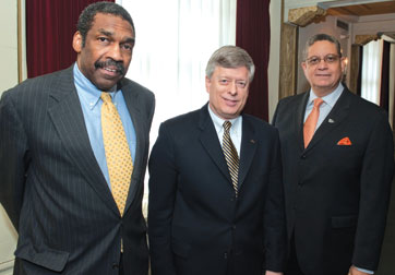 From left, William Strickland (A&S '70), president and CEO of Manchester Bidwell Corporation and Pitt trustee; Chancellor Nordenberg; and Gregory R. Spencer (CGS '80), president and CEO of Randall Industries, during the AACC luncheon.