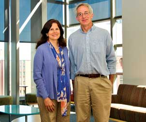 Susan G. Amara and Alan F. Sved are codirectors of the Center for Neuroscience at the University of Pittsburgh (CNUP), a multidisciplinary center with members whose primary appointments are in 16 different departments. Amara, the Thomas Detre Professor and chair of neurobiology, researches the molecular and cellular biology of neurotransmitter transporters, targets for antidepressant medications, psychostimulants such as cocaine and amphetamines, and other centrally acting drugs. Sved, professor and chair of neuroscience, studies central neural control of the body's autonomic nervous system and cardiovascular function.
