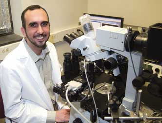 "Pitt MD/PhD student Amir Faraji wants to find out whether it's possible to send chemotherapy agents to attack lingering cancer cells in the brain that remain in the post-surgical margins after a tumor is removed. ""I'm driven by clinical problems,"" says Faraji, whose ultimate goal is to unite his passions for neurosurgery, oncology, and chemistry into what he recognizes will be a demanding career as a physician-scientist."
