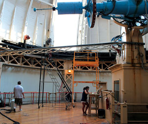Pitt students working in the University's Allegheny Observatory on the North Side.