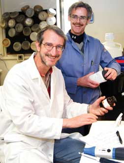 Jeffrey Brodsky, the Avinoff Professor of Biological Sciences (seated), and Peter Wipf, Distinguished University Professor in the Department of Chemistry, are collaborating on a project to search for potential therapeutic agents that inhibit the growth of cancer cells, thwart the replication of specific pathogens, and repair defects in cellular protein folding processes.