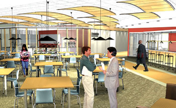 Architectural rendering of Barco Law Building lounge renovations.