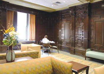 First-floor study area showcases the oak paneling from the former Fort Pitt Hotel.