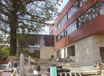 Pitt's Falk School during construction of its new green wing