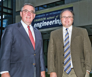 Among the initiators of Pitt's formalized energy research activities were Pitt's U.S. Steel Dean of Engineering Gerald D. Holder (left),  and Brian Gleeson, Harry S. Tack Chair and Professor of Materials Engineering in Pitt's Department of Mechanical Engineering and Materials Science. Their efforts, along with an initiative led by the Office of the Provost, eventually resulted in the 2008 creation of Pitt's Center for Energy, housed in the Swanson School of Engineering and directed by Gleeson. Associate directors are Laura Schaefer, a professor of engineering in the Department of Mechanical Engineering, and Gregory Reed, a professor of electric power engineering in the Department of Electrical and Computer Engineering.