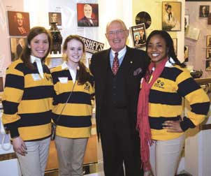 Rep. Harry Readshaw (D-District 36) met with Pitt students (from left) Danielle Cameron, Jennifer Walsh, and Levonda Baldwin.