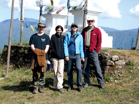 Posing on the road from Rimbik to Darjeeling are (from left) Pitt civil engineering graduate student Derek Mitch; Bhavna Sharma, civil engineering doctoral student and recipient of an Integrative Graduate Education and Research Traineeship from Pitt's Mascaro Center for Sustainable Innovation; civil engineering doctoral student Maria Jaime; and civil engineering professor and William Kepler Whiteford Faculty Fellow Kent Harries.