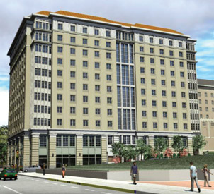 Rendering of residence hall at corner of Fifth Avenue and University Place