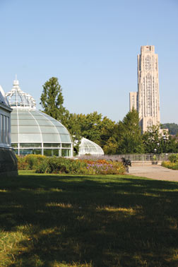 Phipps Conservatory with Pitt's Cathedral of Learning in the background