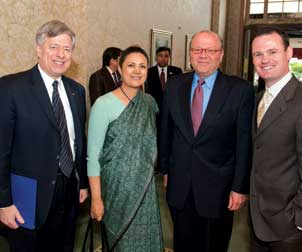 From left, Pitt Chancellor Mark A. Nordenberg, Ambassador of India to the United States Meera Shankar, Carnegie Mellon University President Jared L. Cohon, and Pittsburgh Mayor Luke Ravenstahl.