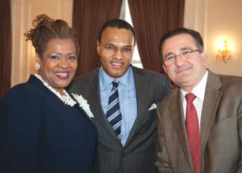 "Pitt's School of Arts and Sciences hosted the ""African American Student Retention Symposium: From Theory to Practice"" on Feb. 10 at the University Club. Freeman A. Hrabowski (center), president of the University of Maryland-Baltimore County, delivered the keynote address, ""Beating the Odds—Best Practices and Lessons Learned for African American Student Achievement."" Hrabowski is pictured with Kathy W. Humphrey, Pitt vice provost and dean of students, and Juan J. Manfredi, Pitt vice provost for undergraduate studies."