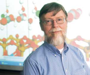 Distinguished Professor of Computational Chemistry Kenneth Jordan is studying CO2 with particular emphasis on how to capture and store it as well as on how to convert it into fuels. Among several of Jordan's recent projects is a NETL-funded study of the use of clay materials to capture and store CO2.  The background of the above photo of jordan shows images of CO2molecules trapped in interlayer water in a clay sample.