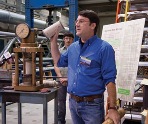 "Pitt engineering professor Kent Harries in his bamboo lab, part of the Pitt ""green"" tour"