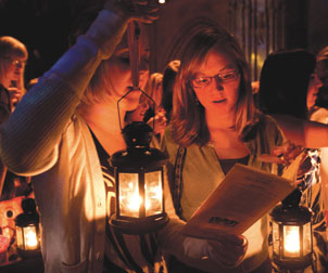 The Aug. 30 Lantern Night ceremony continued a tradition that began in 1920. Female alumni pass the light of learning and inspiration to first-year women.