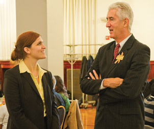 Legacy Laureate Frederick W. Thieman talks with Tessa Walker, a second-year Pitt Law student, during the Oct. 13 luncheon.