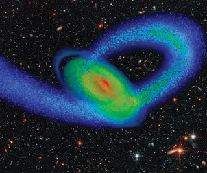 A computer simulation of the Sagittarius Dwarf galaxy (blue stream of stars) impacting our Milky Way galaxy (multicolored disk).