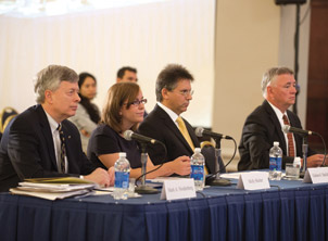 Addressing the committee on Pitt's role as a provider of high-quality higher education were (from left) Chancellor Nordenberg; Molly Stieber (A&S '13), president of Pitt's Student Government Board; Graham Hatfull, Eberly Family Professor and Howard Hughes Medical Institute Professor; and Stephen Tritch ((ENGR '71, MBA '77), chair of the Pitt Board of Trustees.