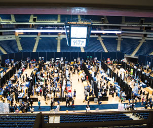 High unemployment and a tight economy prompted Pitt students and alumni to pack the Petersen Events Center on Sept. 30 for Pitt's daylong Fall 2010 Career Fair. The event was a success, with more students attending this year, and there were 261 participating employers, an increase of 28 percent from last year.